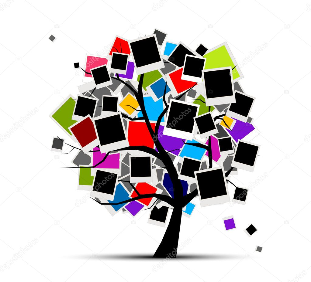 Memories tree with photo frames for your design, insert your picture — Stock Vector #6404143
