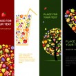 Fruits banners vertical for your design — Stockvectorbeeld
