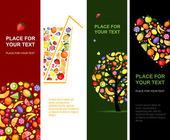 Banderas de frutas verticales para su diseño — Vector de stock
