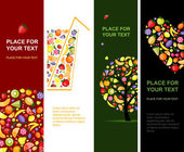 Fruits banners vertical for your design — Vettoriale Stock