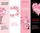 Summer floral pink banners vertical for your design — Stock Vector