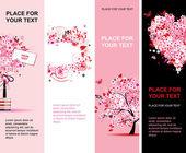 Banners rosa floral verano vertical para su diseño — Vector de stock