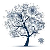 春天的美丽白树为您的设计 — 图库矢量图片