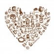 Vector de stock : Coffee time, heart shape for your design