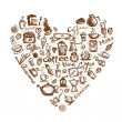 Royalty-Free Stock Vector: Coffee time, heart shape for your design