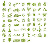 Green ecology icons for your design — Vector de stock
