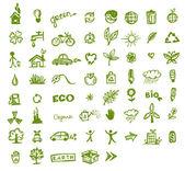 Tasarımınız için yeşil ekoloji simgeler — Stok Vektör