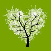 Art tree heart shape for your design — Stock Vector