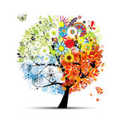 Four seasons - spring, summer, autumn, winter. Art tree beautiful for your — Cтоковый вектор