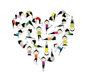 I love yoga! Heart shape for your design — Stock Vector