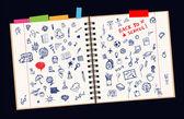 Schetsen op pagina, concept van school voor uw ontwerp — Stockvector