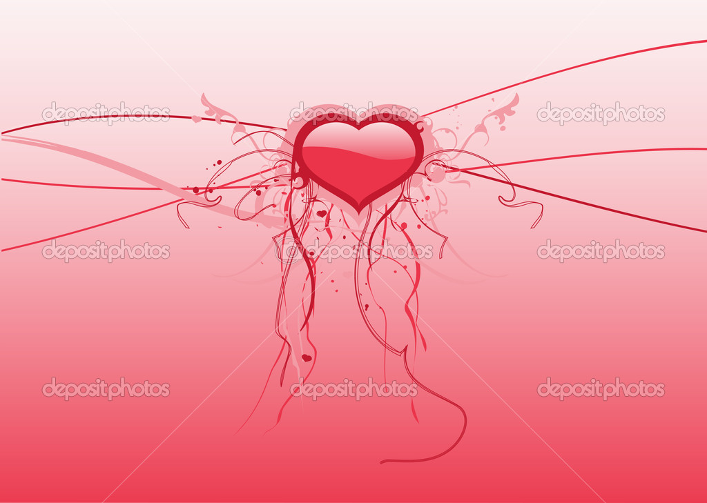Valentines abstract background  with heart, vector illustration.  — Stock Vector #5690176