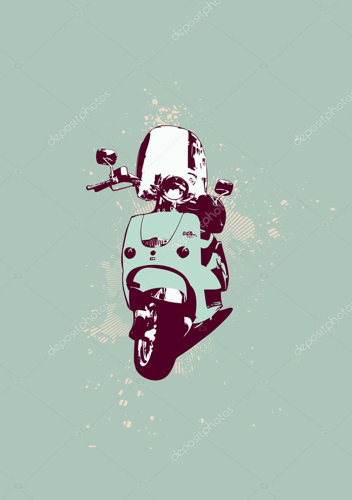 Retro style of scooter bike. Grunge style. Vector illustration.  — Stock Vector #5690194