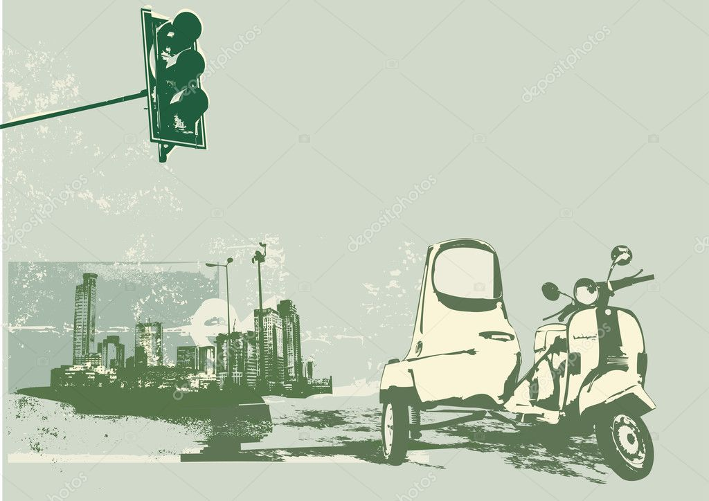 Vector illustration of vintage scooter on the grunge urban background — Stock Vector #5690319