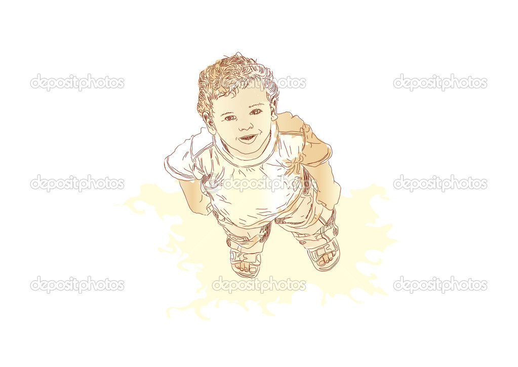 Little boy looking up and smiling. Vector illustration — Stock Vector #5815145