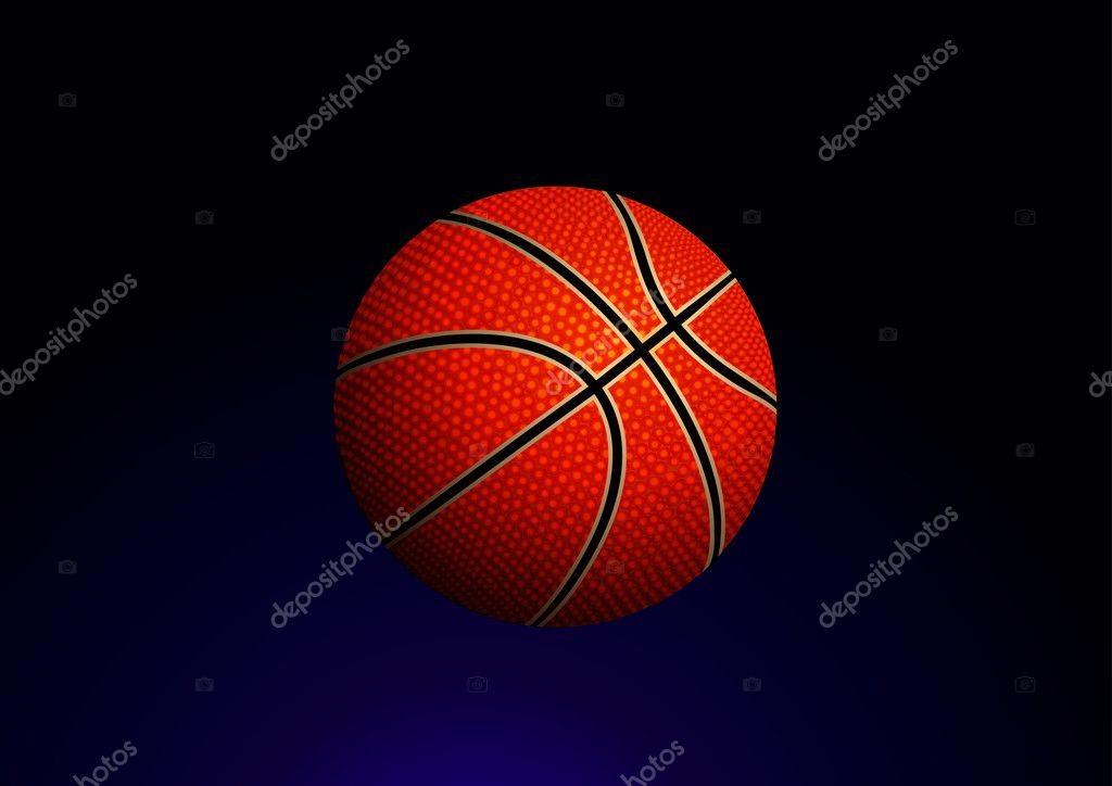 Vector illustration of detailed basketball ball on gradient background — Stock Vector #5817462