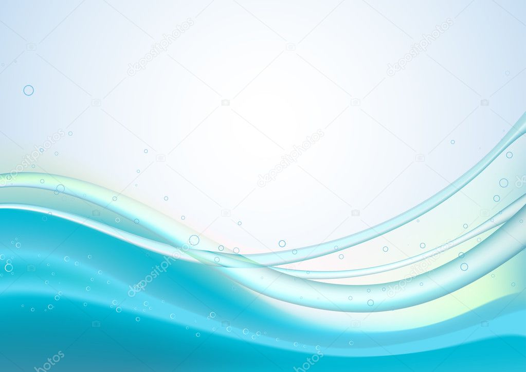 Blue Abstract lines background: composition of curved lines and bleb - great for backgrounds, or layering over other images  Stock Vector #5839115