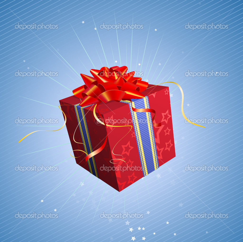 Vector illustration of red square present box with a bow and ribbons on starry blue background — Stock Vector #5865838