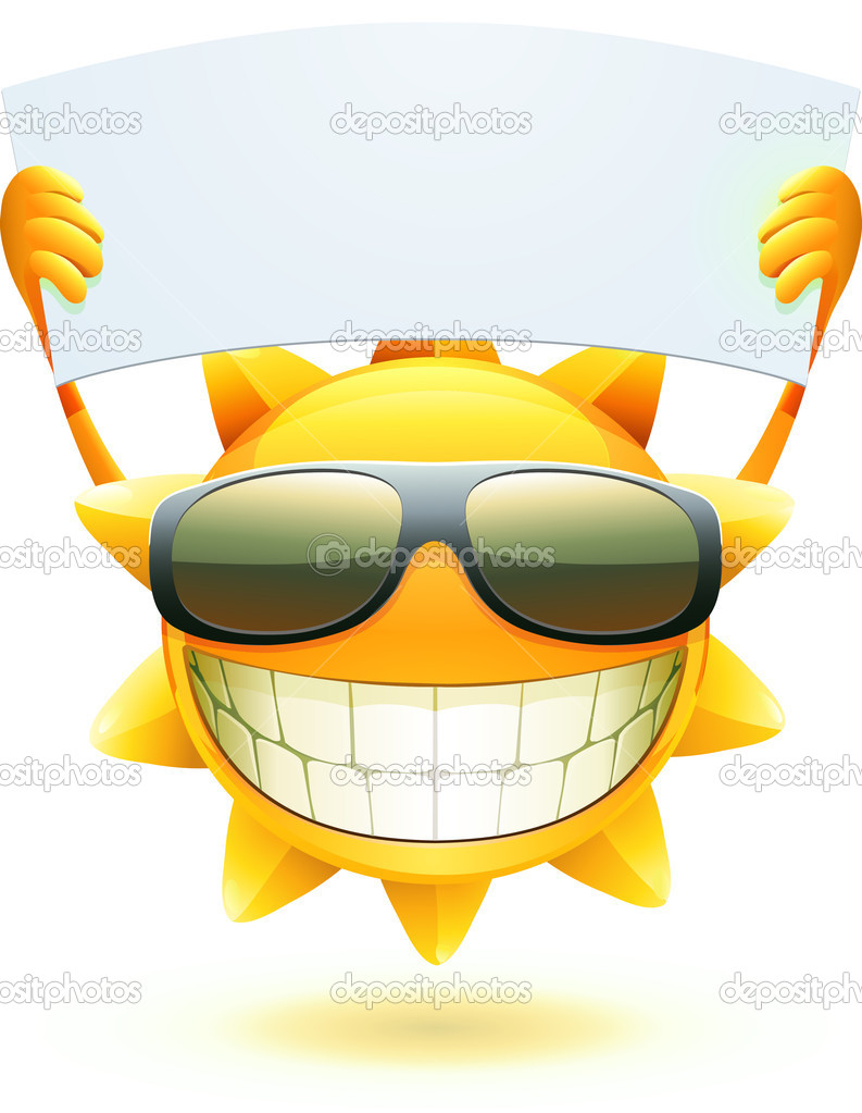 Illustration of cool cartoon happy summer sun in sunglasses with blank banner  Stock Photo #5897163