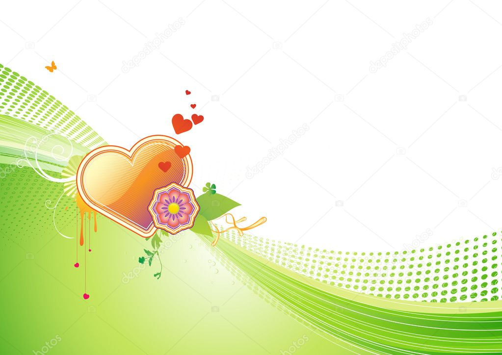 Vector illustration of funky styled design background with heart shape and floral elements — Stock Vector #6556351