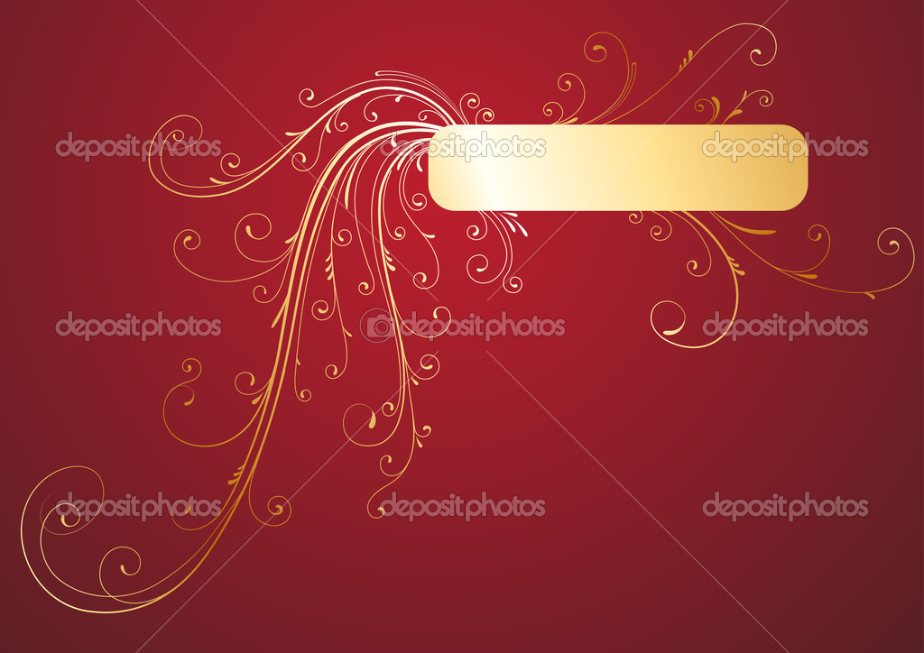 Vector illustration of Golden Floral Decorative banner on red background — Stock Vector #6712417