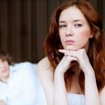 Couple in disagreement in bedroom — Stock Photo