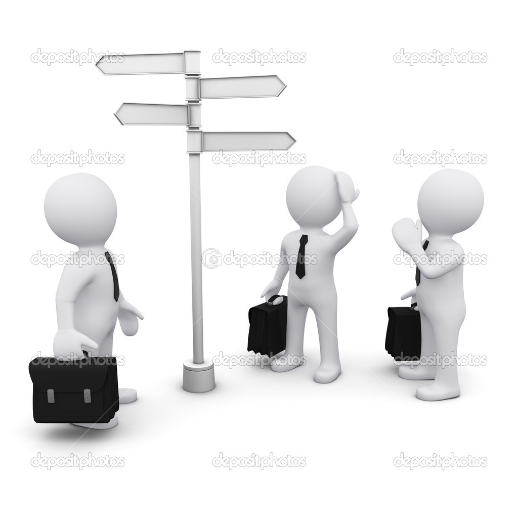 3D man making choice standing near sign post — Stock Photo #5425320