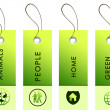 Light green tags with inscriptions — 图库照片
