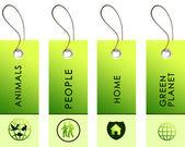 Luz verdes tags com inscrições — Foto Stock