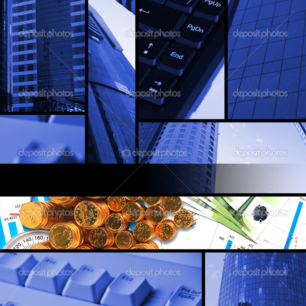 Collage from financial elements with parts of skyscrapper  Stock Photo #5437690