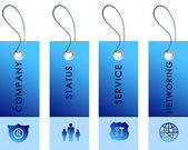 Blue tag with inscriptions — Stock Photo