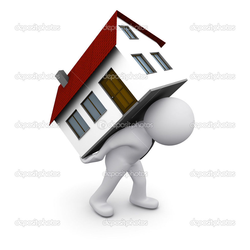 3D man carrying house on his back — Stock Photo #5443342