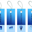 Blue labels with communication symbols — Stock Photo #5473024