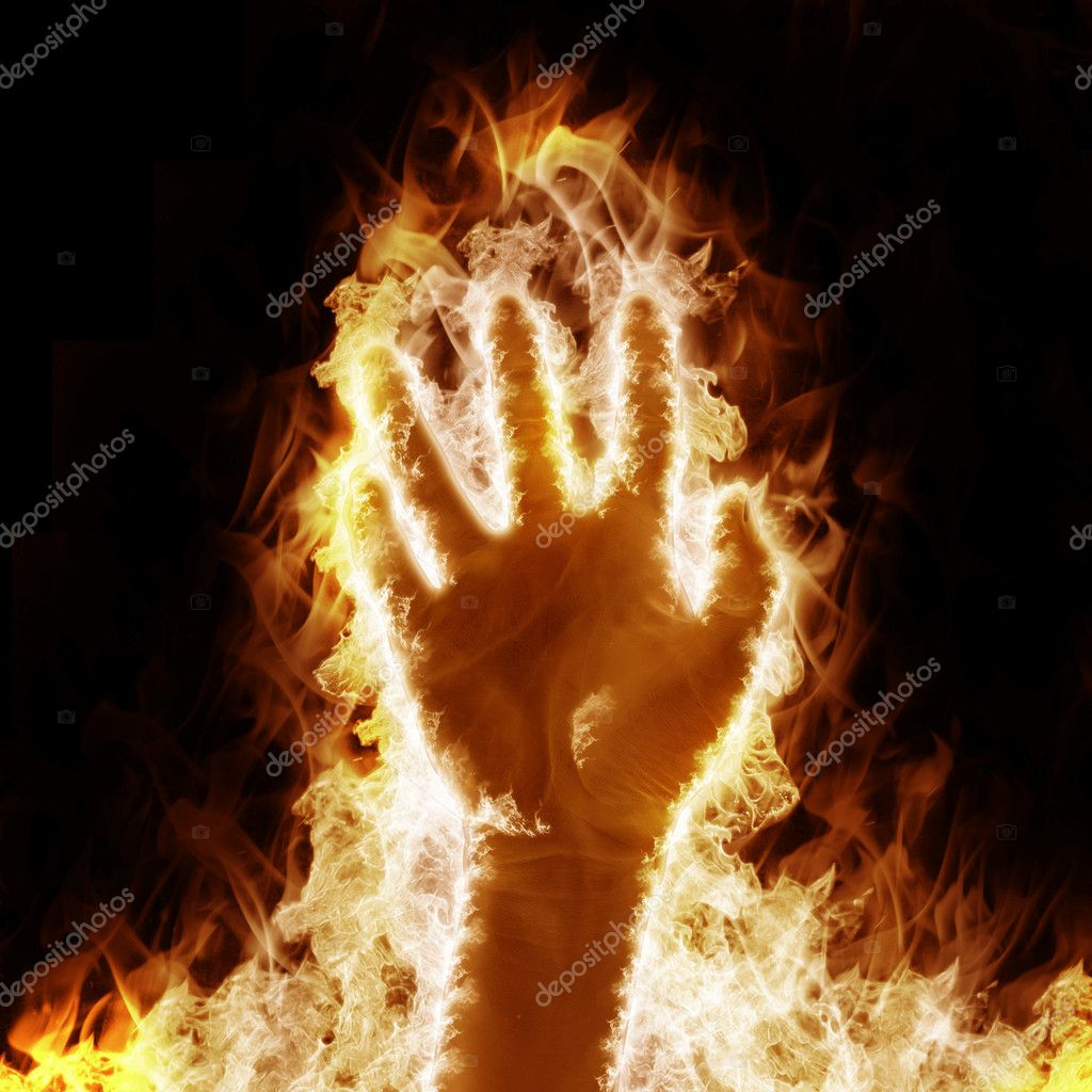 Human hand open arms fire on a black background — Stock Photo #5470653