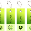 Green labels with nature symbols — Stock Photo