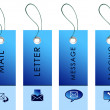 Stock Photo: Blue labels with communication symbols