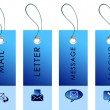 Blue labels with communication symbols - Stock Photo