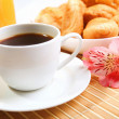Royalty-Free Stock Photo: Breakfast coffee and croissants