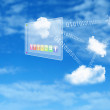 Elements of the social network against the sky - Stock Photo