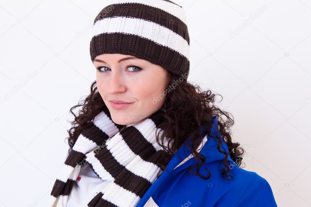 Young pretty woman wearing winter hat and scarf  Stock Photo #5640201
