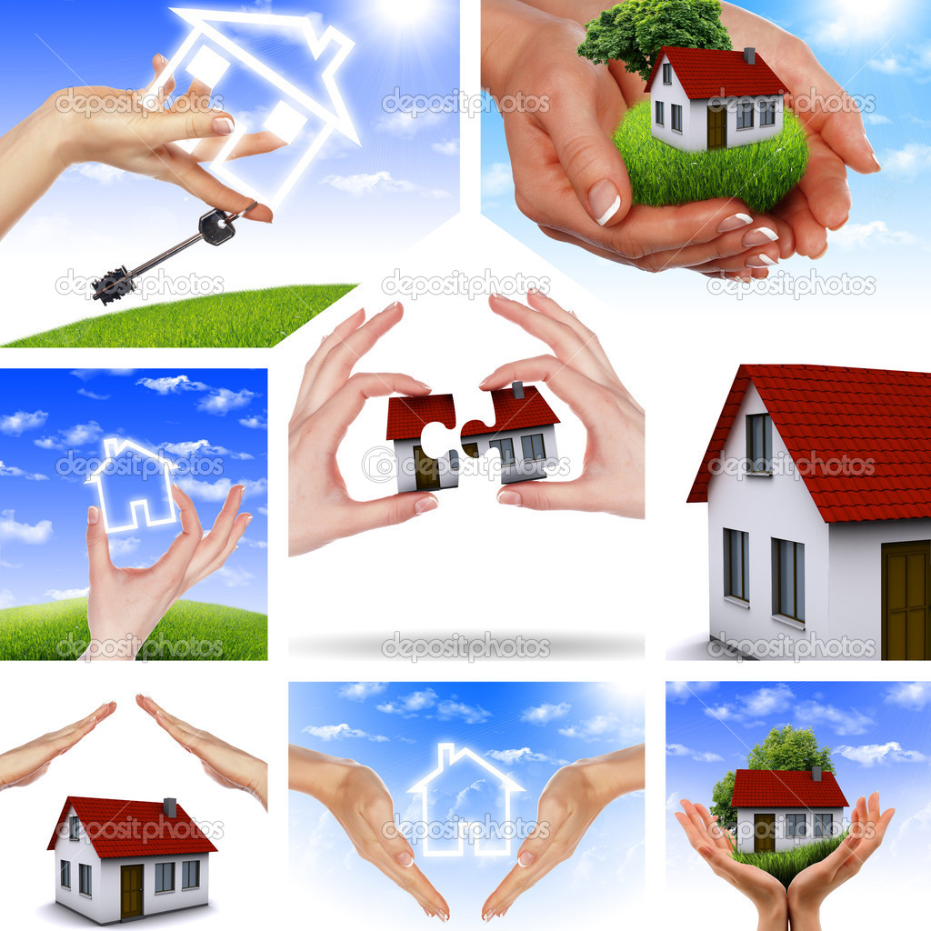 Symbol of a successful real estate business. Collage. Illustrations. — Stock Photo #5640292