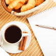 Breakfast coffee and croissants — Stock Photo #5682007