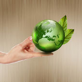 Green earth with growing plant — Stock Photo
