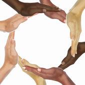 Ludzkie ręce jako symbol różnorodności etnicznej — Zdjęcie stockowe