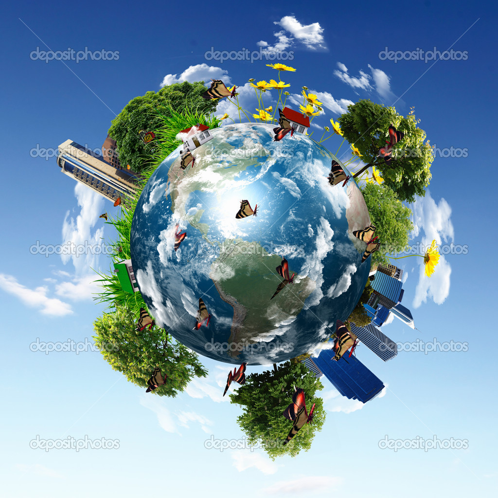 Earth with the different elements on its surface. Humorous collage. — Stock Photo #5682196