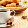 Breakfast coffee and croissants — Стоковое фото