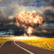 Nuclear explosion in an outdoor setting - Stock Photo