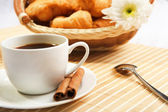 Breakfast coffee and croissants — Stock Photo