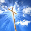Christian cross against the sky — 图库照片