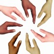 Human hands as symbol of ethnical diversity - Foto Stock